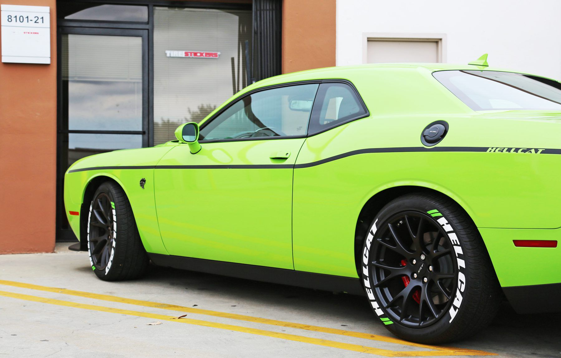 Dodge hellcat green tire stickers 1