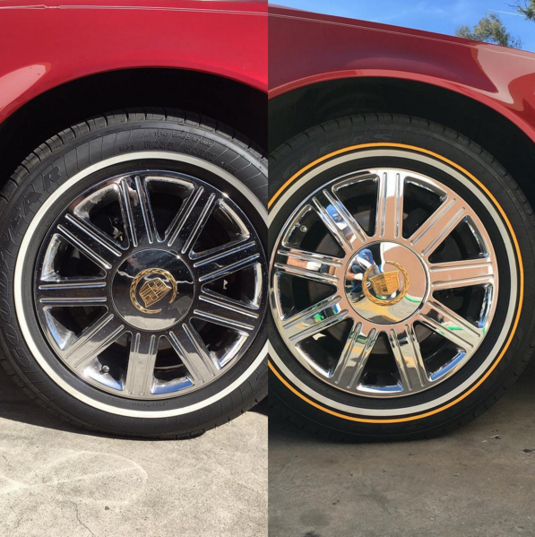 white wall tires – with yellow line