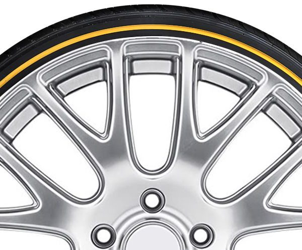 Yellow Stripe Tire Sidewall - Tire Stickers Cadillac