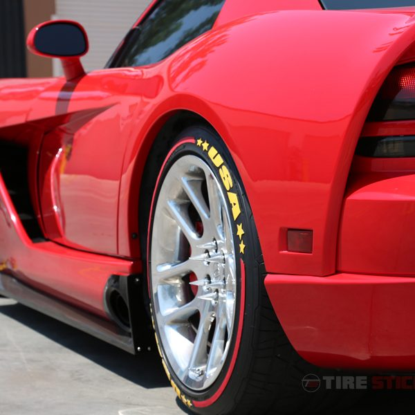 dodge viper - tire stickers - yellow lettering