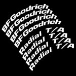 BF Goodrich-radial - ta- white lettering-tire stickers
