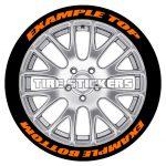 orange tire stickers text on tires