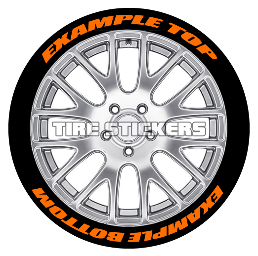 orange tire stickers text on tires