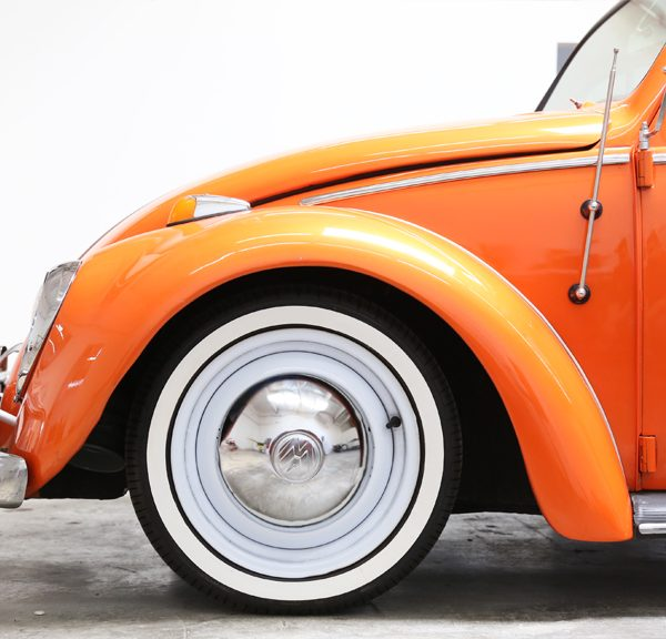 VW Beetle With Aftermarket White Wall Tires