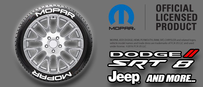 Dodge mopar tire stickers white lettering 1