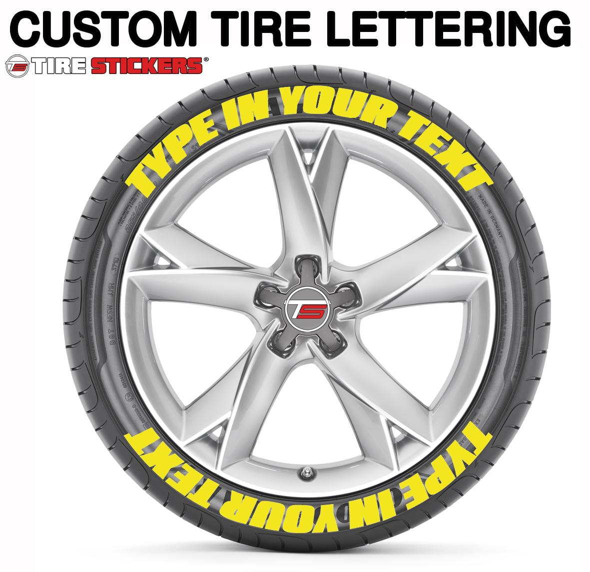 Custom tire lettering amazon yellow