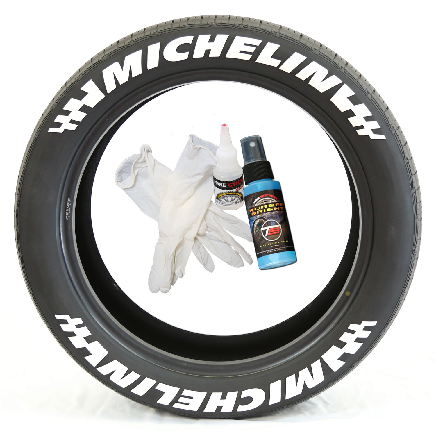 michelin with flags tire stickers with glue and gloves permanent