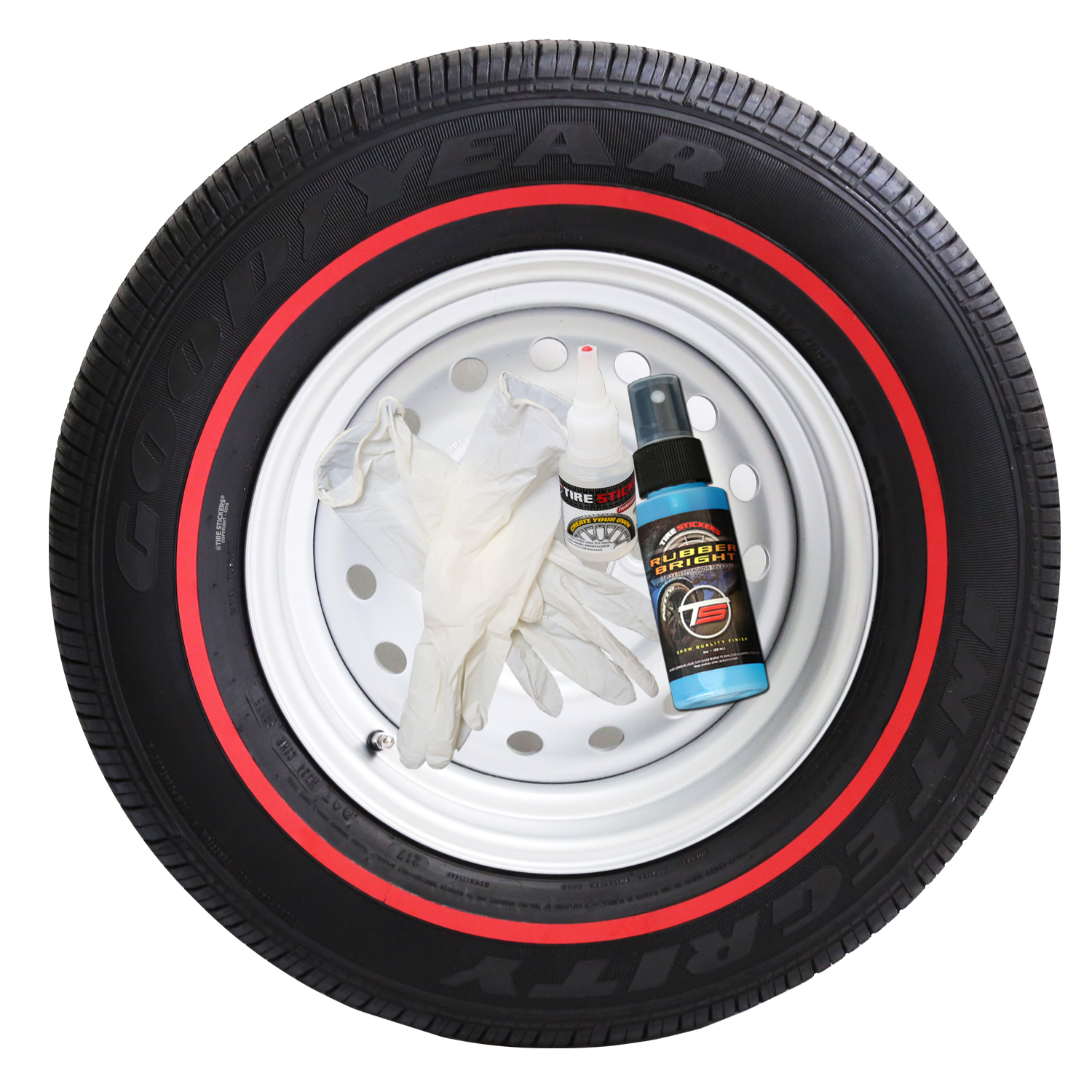 Red Line Tires >> Redline Tire Ring Add On Kit Permanent Rubber Red Pinstripe Tires