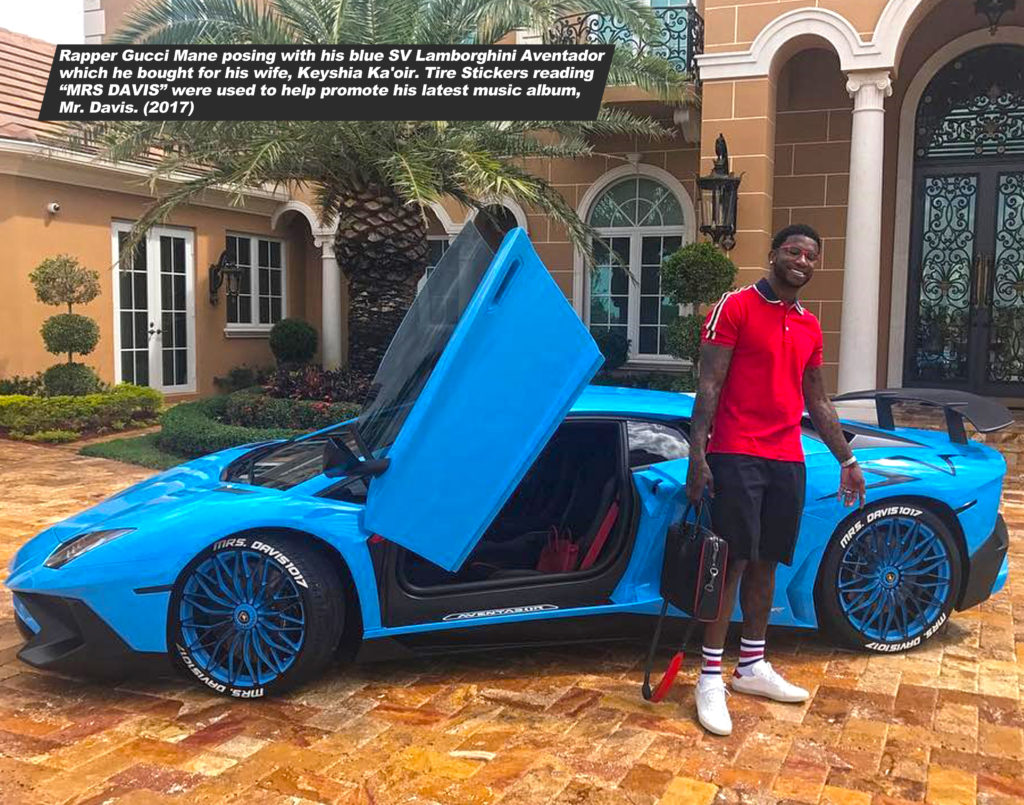 Gucci mane blue aventador and tire stickers