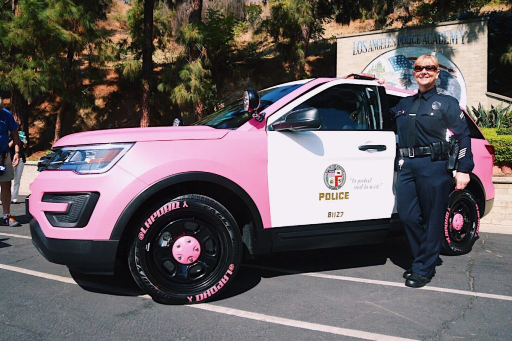 LAPD burbank police-pink-tire-stickers