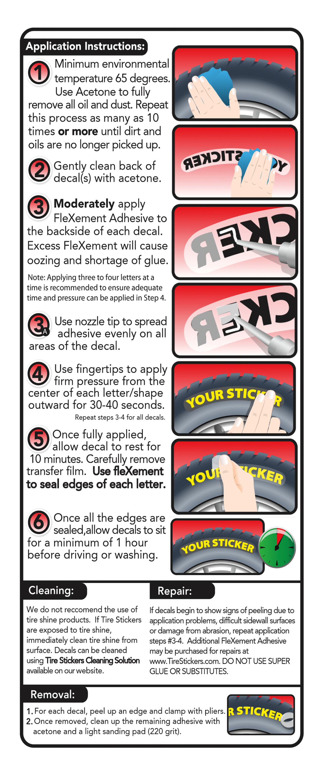 Permanent Tire Stickers - Application Guide Instructions