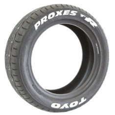 Toyo Proxes T1R - Pre-Lettered Tire with Permanent White Tire Stickers - Left2